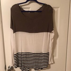 Tops - Three-toned Striped Sweater